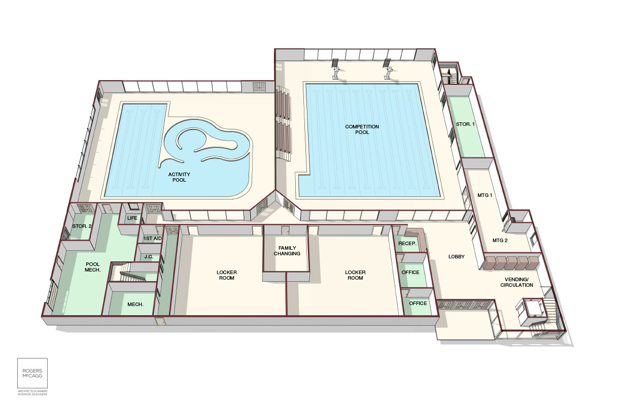 Concept rendering depicting the STAR AquaCenter's first floor.